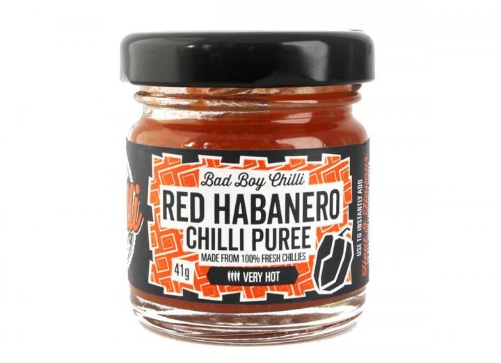 Red habanero chilli puree, handmade in Cornwall by Bad Boy Chilli