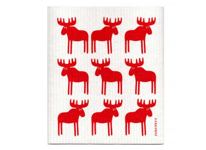 Red moose patterned biodegradable dishcloth from Jangneus