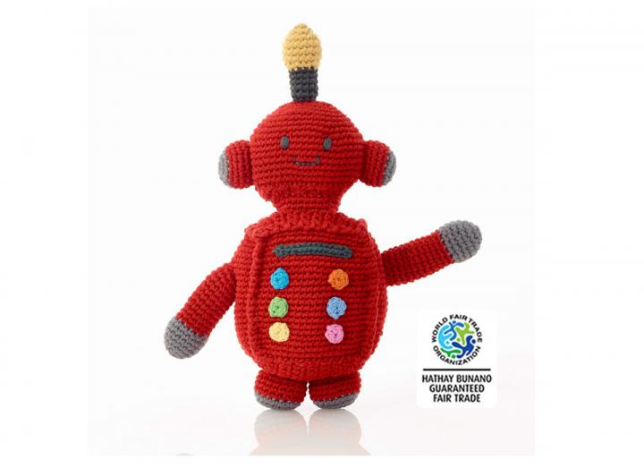 Crochet red robot