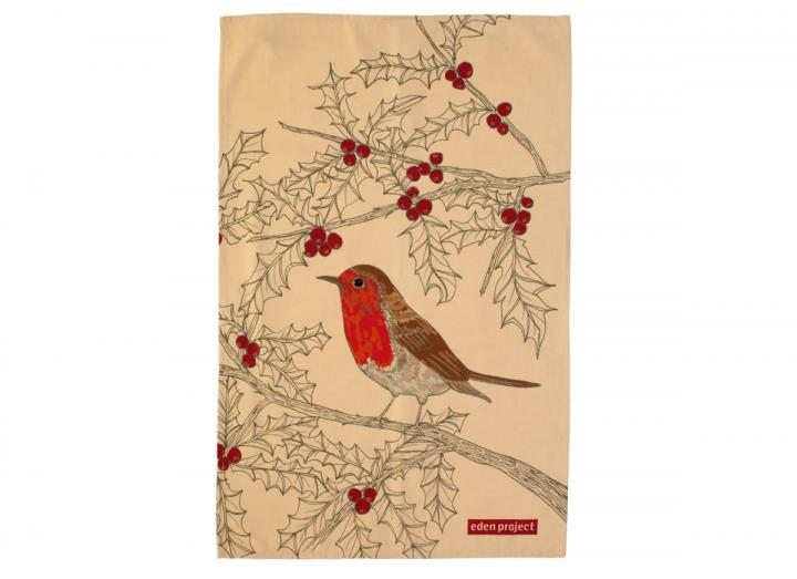 Cotton tea towel with a robin print