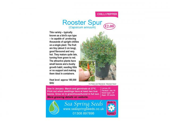 Rooster Spur chilli seeds