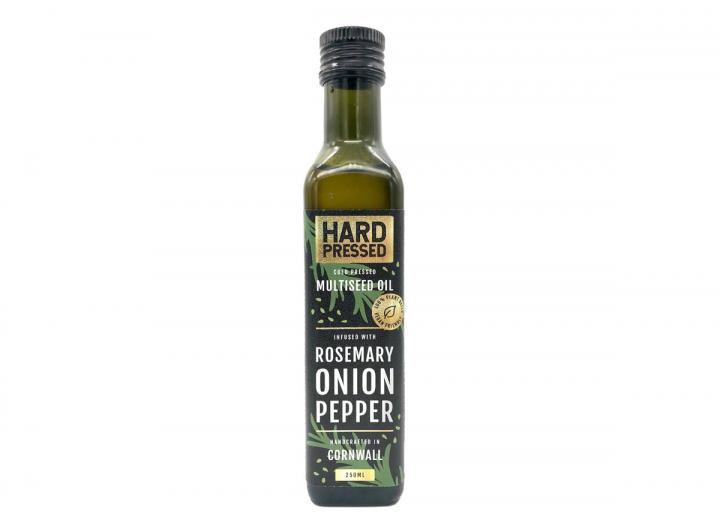 Cold pressed, multiseed oil infused with rosemary, onion & pepper. Handcrated in Cornwall By Hard Pressed.