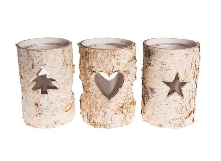 Round silver birch candle holders
