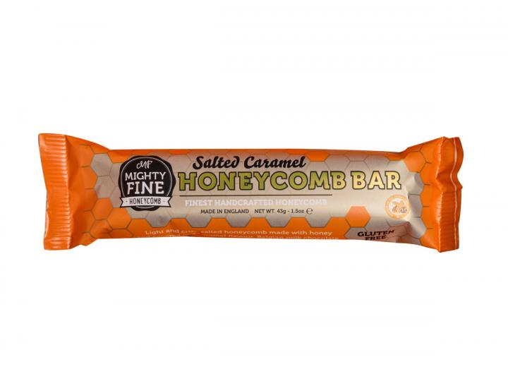 Salted caramel flavoured chocolate coated honeycomb bar