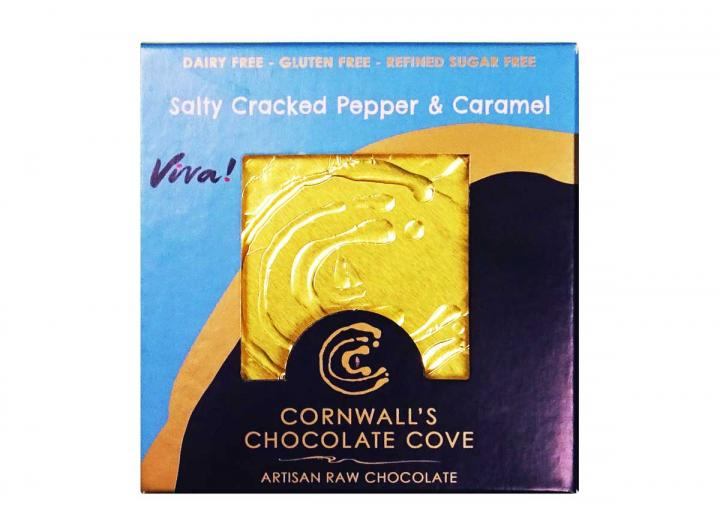 Salty cracked pepper & caramel raw chocolate