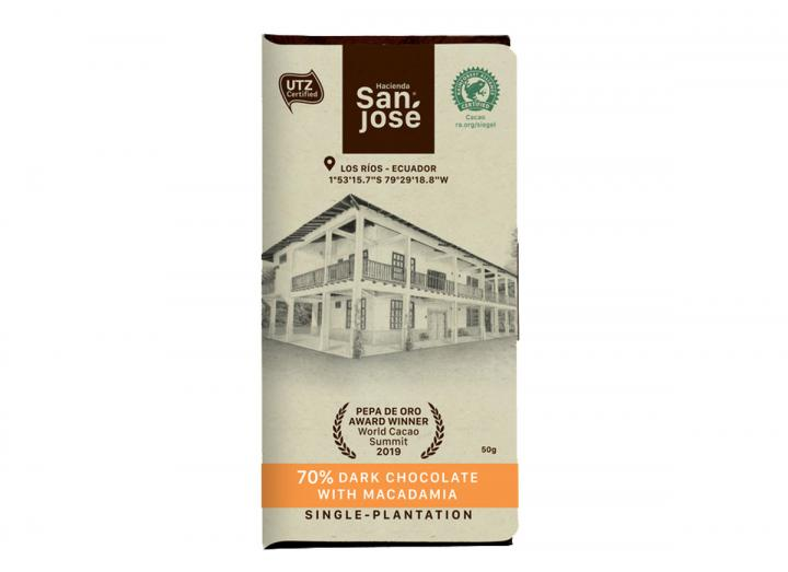Hacienda San José 70% dark chocolate with macadamia 50g
