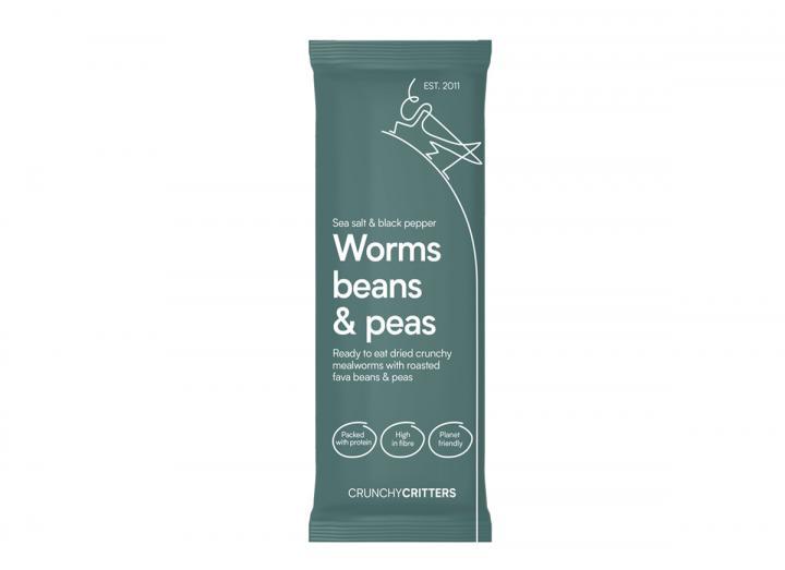 Crunchy Critters sea salt & black pepper worms, beans & peas