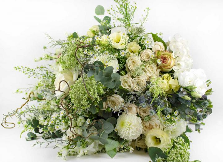 Signature luxury white bouquet, hand-tied by Tregothnan