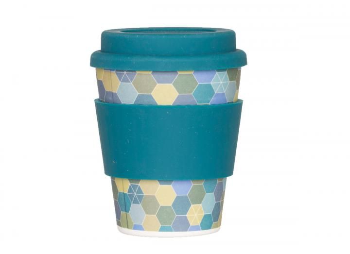 300ml bamboo coffee cup with hexagon print