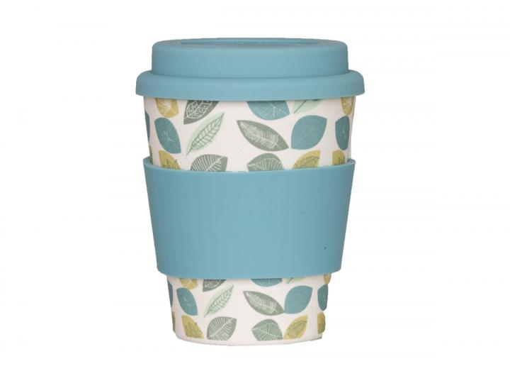 300ml bamboo coffee cup with leaf print