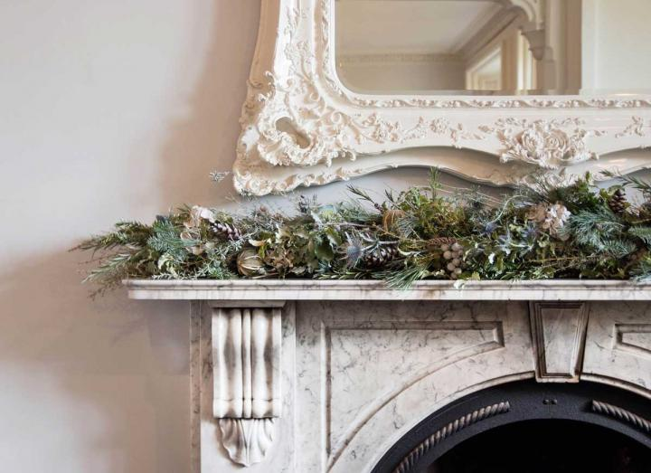 Snow queen collection garland handmade on the Tregothnan estate in Cornwall