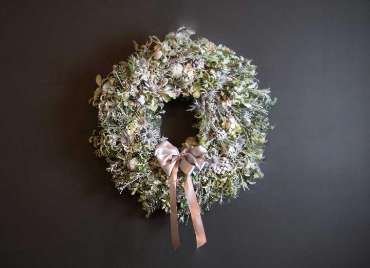 Snow Queen Collection Christmas wreath handmade on the Tregothnan estate in Cornwall