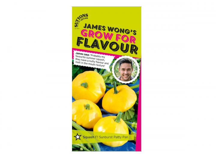 Squash 'f1 sunburst patry pan' seeds from the James Wong grow for flavour collection