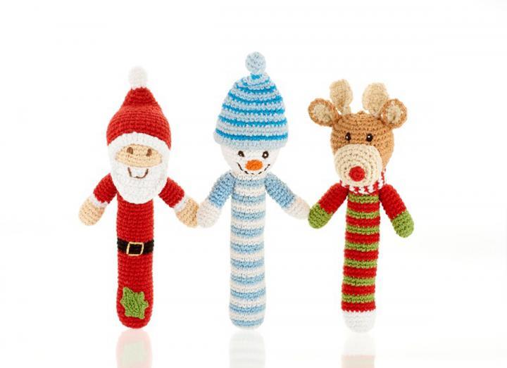 Festive crochet stick rattles