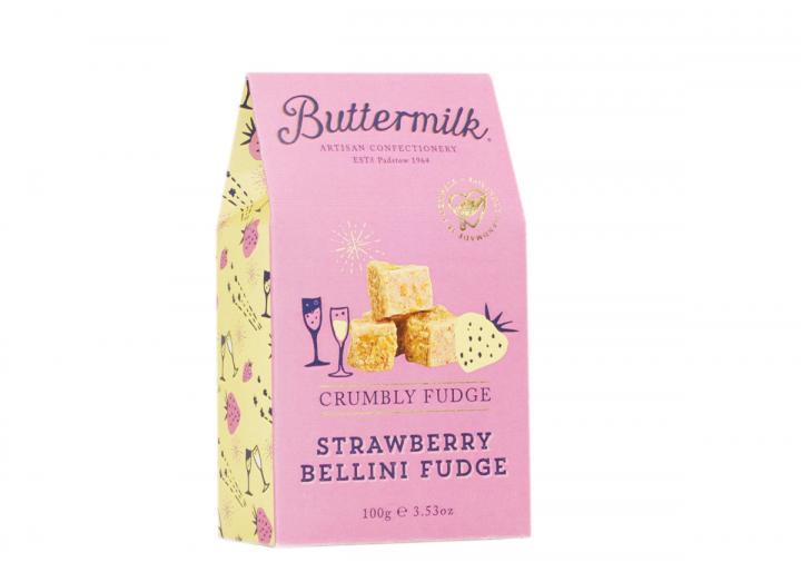 Buttermilk strawberry bellini fudge