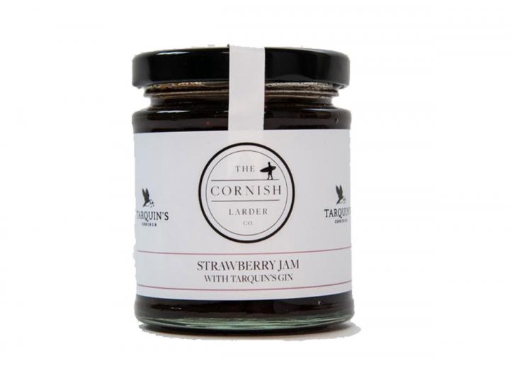Strawberry jam with Tarquin's gin, made in Cornwall by The Cornish Larder Co.