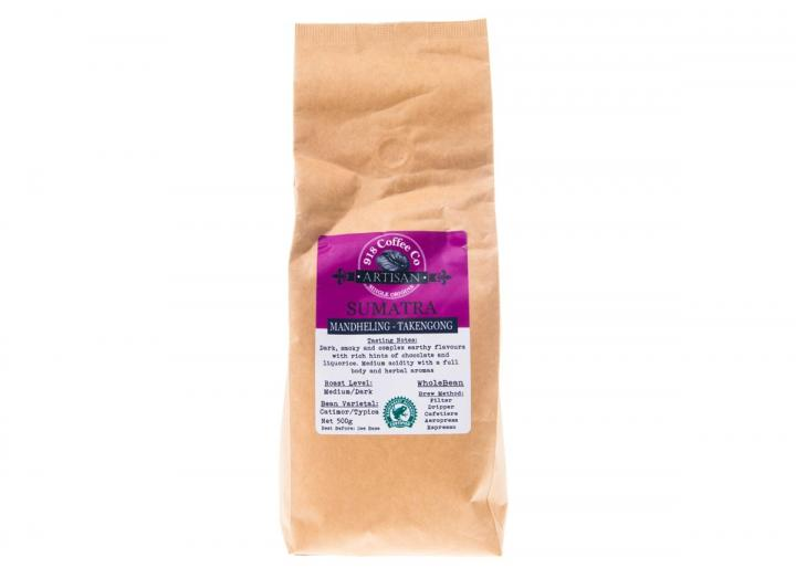 500g bag of Sumatran single origin whole bean coffee