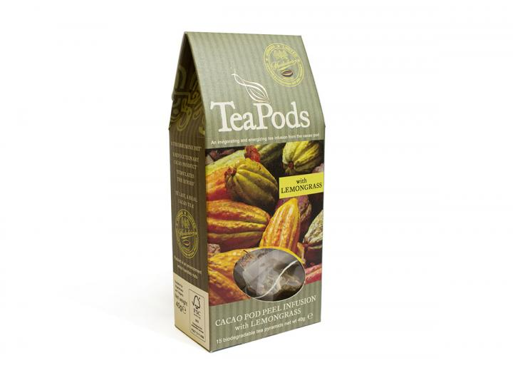 TeaPods cacao pod peel infusion with lemongrass