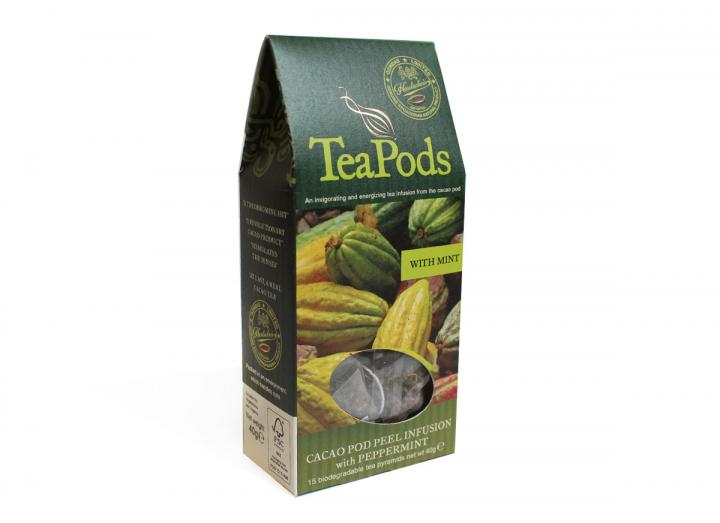 TeaPods cacao pod peel infusion with peppermint