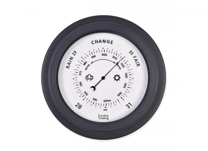 Tenby powder coated steel barometer in carbon from Garden Trading