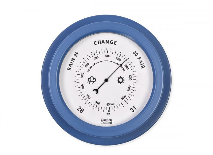 Tenby powder coated steel barometer in Lulworth blue from Garden Trading
