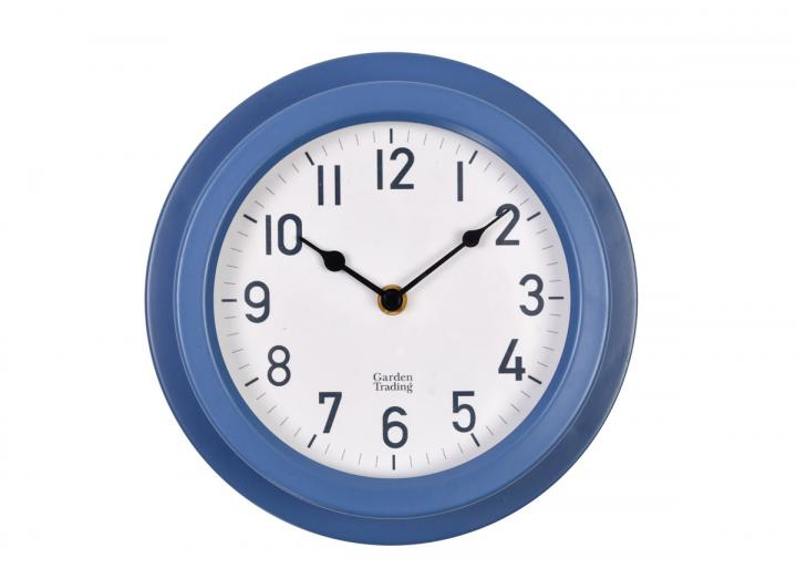 Tenby powder coated steel clock in Lulworth blue from Garden Trading