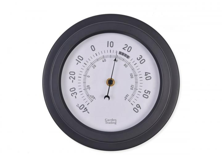 Tenby powder coated steel thermometer in carbon from Garden Trading