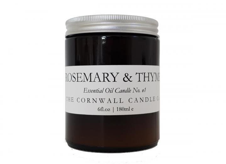 Rosemary & Thyme scented candle handmade in Cornwall by The Cornwall Candle Co,