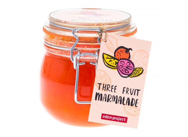 Jar of three fruit marmalade