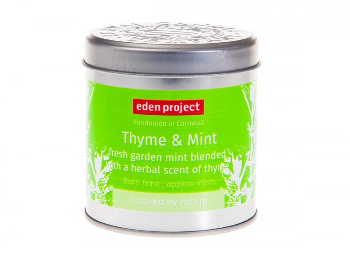 Thyme & mint scented candle tin