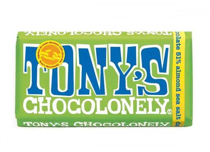 Tony's Chocolonely dark chocolate with almond & sea salt 180g bar