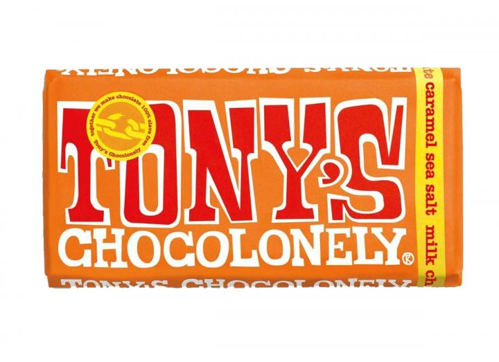 Tony's Chocolonely milk chocolate with caramel sea salt 180g bar