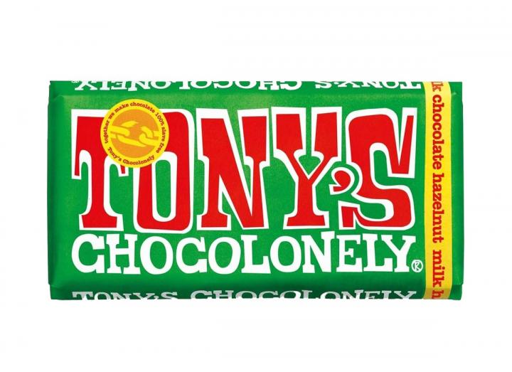 Tony's Chocolonely milk chocolate with hazelnuts 180g bar