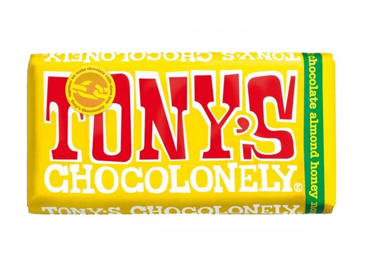 Tony's Chocolonely milk chocolate with almond honey nougat 180g bar