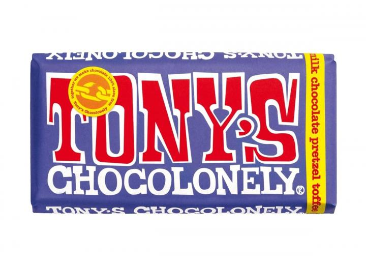 Tony's Chocolonely dark milk chocolate with pretzel & toffee 180g bar