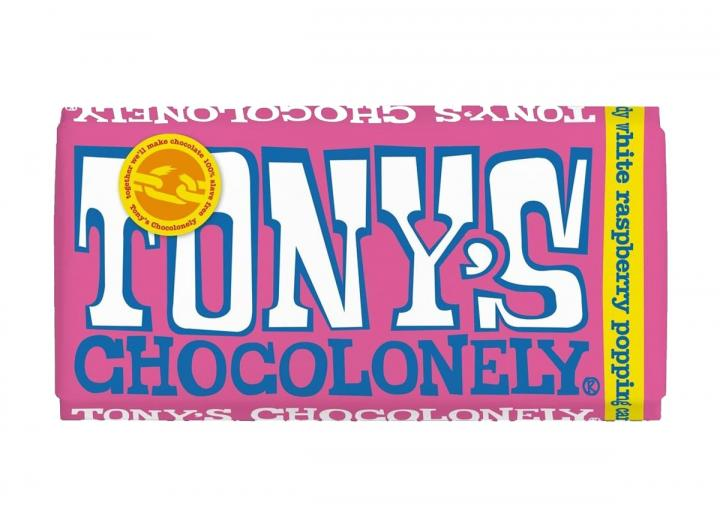 Tony's Chocolonely white chocolate with raspberry & popping candy 180g bar