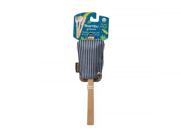Bamboo travel utensils set in a stripy organic cotton cover