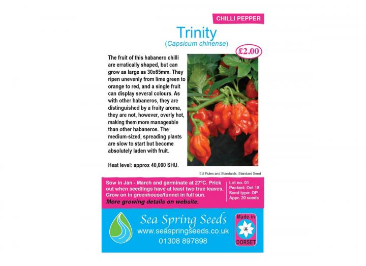 Trinity chilli seeds from Sea Spring Seeds