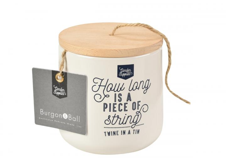 Twine dispenser in stone with 120m of jute twine, from Burgon & Ball