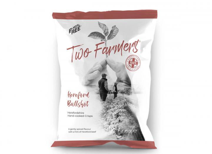 Two Farmers Hereford Bullshot Crisps 150g, packaged in compostable packaging