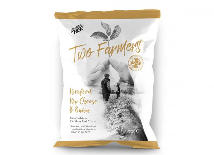 Two Farmers Hereford Hop Cheese & Onion Crisps 150g, packaged in compostable packaging