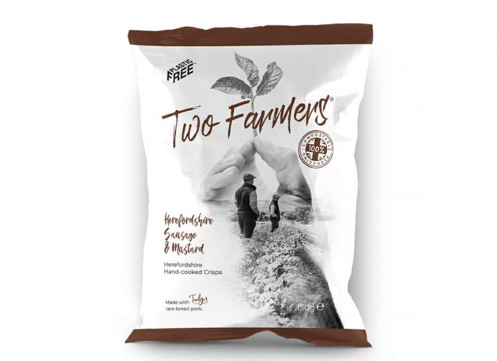 Two Farmers Herefordshire Sausage & Mustard Crisps 150g, packaged in compostable packaging