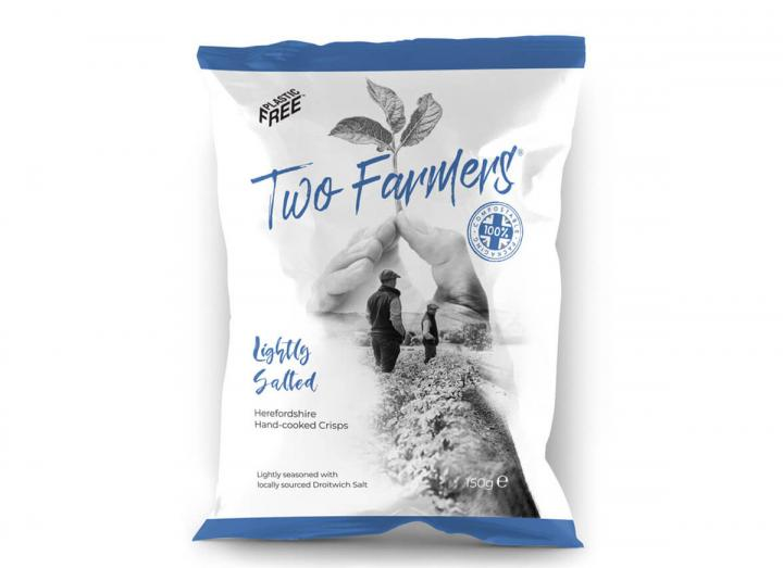 Two Farmers Lightly Salted Crisps 150g, packaged in compostable packaging