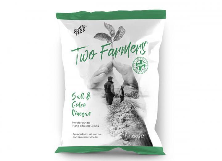 Two Farmers Salt & Cider Vinegar Crisps 150g, packaged in compostable packaging