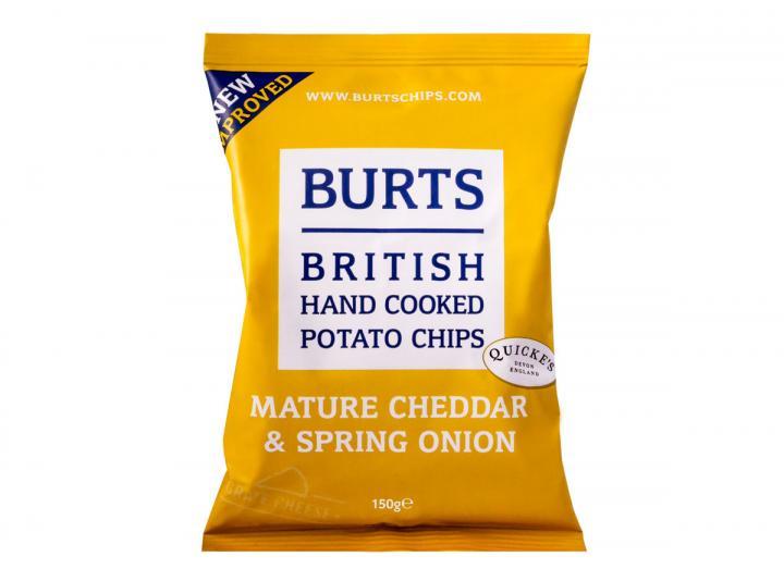 Burts vintage cheddar & spring onion potato chips 150g