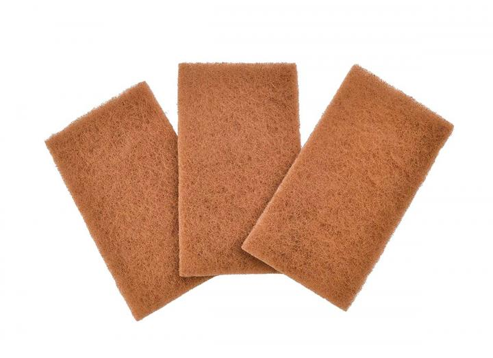 Walnut shell scour pads, pack of 3