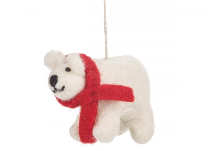 Felt winter polar bear hanging decoration