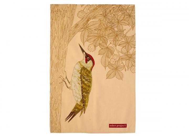 Cotton tea towel with a Woodpecker bird print