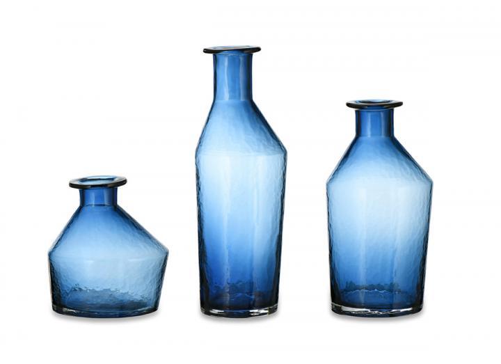 Zaani glass vases in indigo from Nkuku
