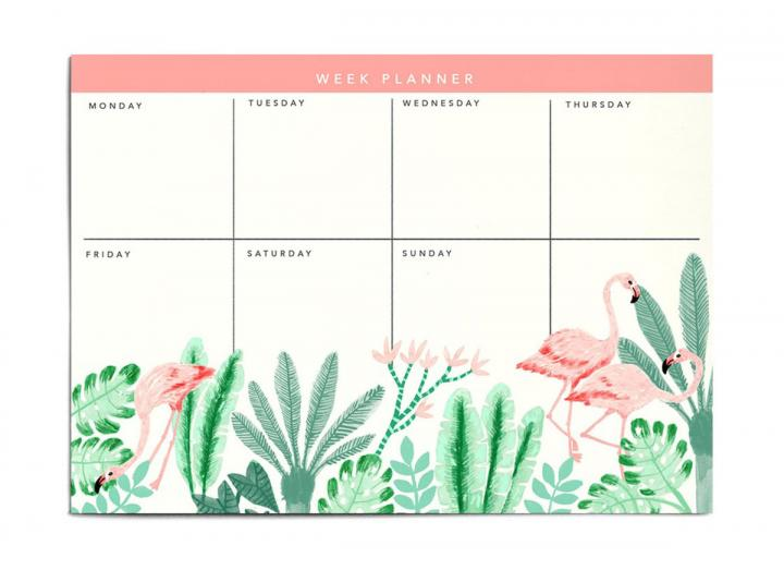 A4 weekly planner pad flamingo